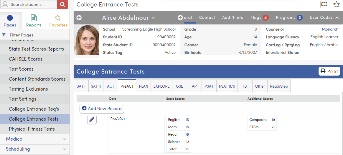College Entrance Tests - PreACT tab