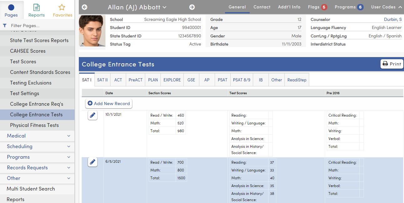 College Entrance Tests - SAT I tab