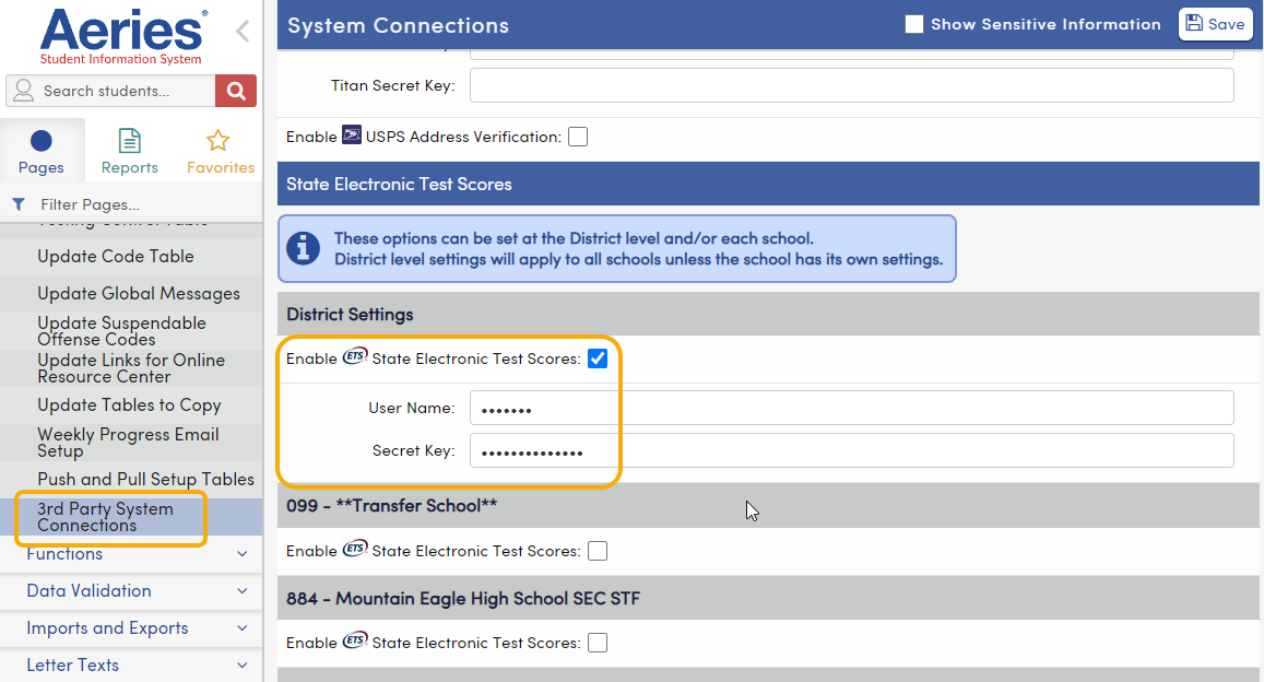 3rd Party System Connections - enter State Electronic Test Scores User Name and Secret Key