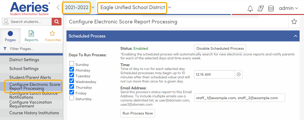 Configure Electronic Score Report Processing - Scheduled Process tab