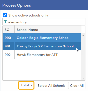 Configure Electronic Score Report Processing - Scheduled Process tab - select schools