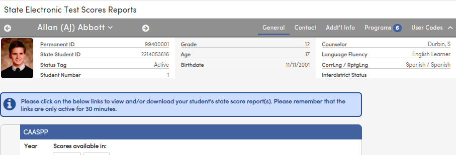 State Test Scores Reports - Links active for 30 minute message