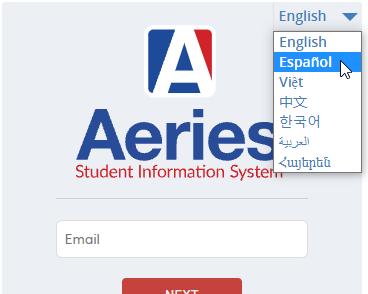 Parent Portal Login page - Selecting a language
