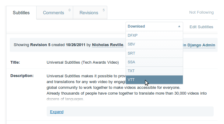 No  VTT file format available in download drop down option : Amara