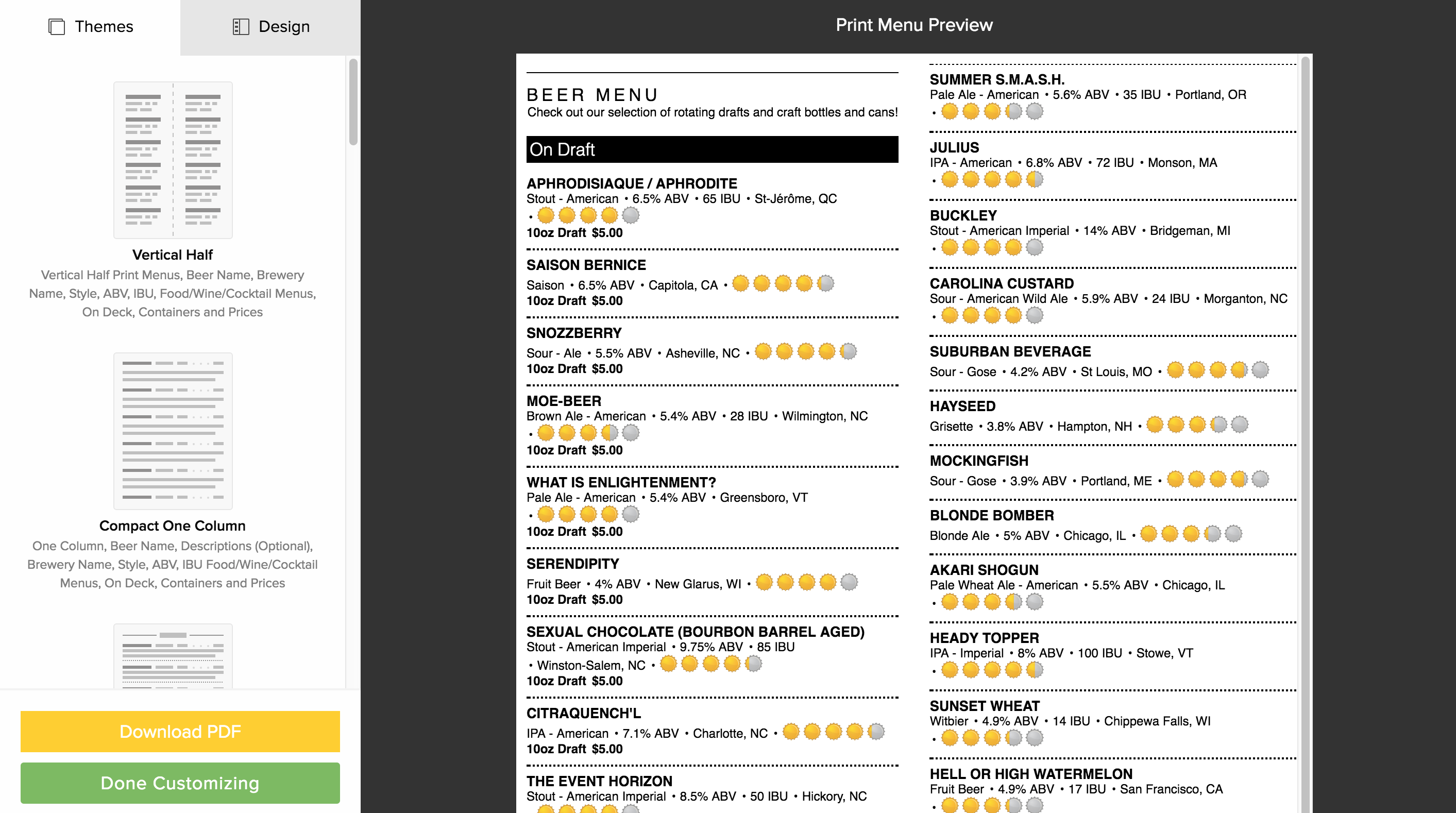 Print your menus downgraded v1 untappd for business once youve selected a template you can further customize it in the design tab wajeb Choice Image
