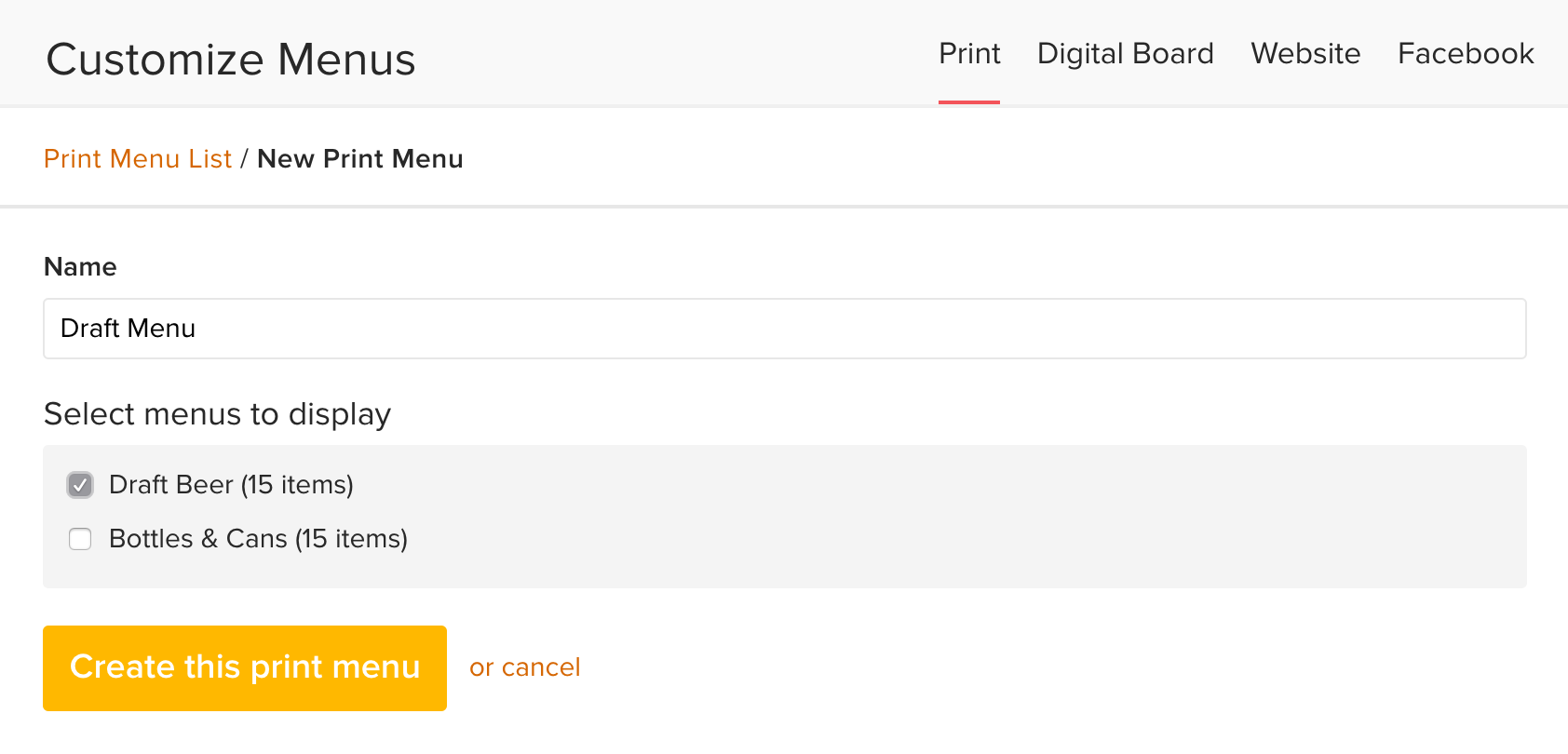 Print Your Menus : Untappd for Business