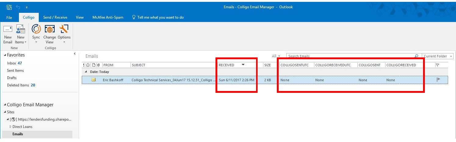 Outlook Engage SharePoint list display not including Date