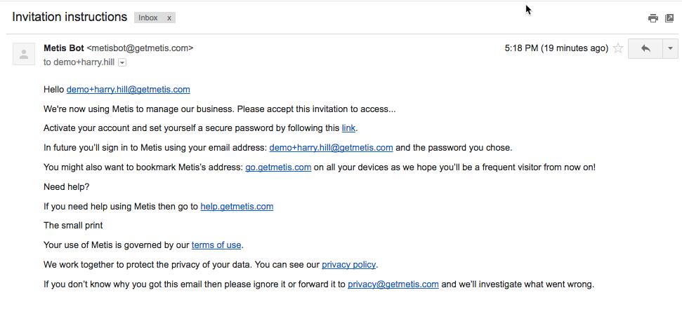 invitation email