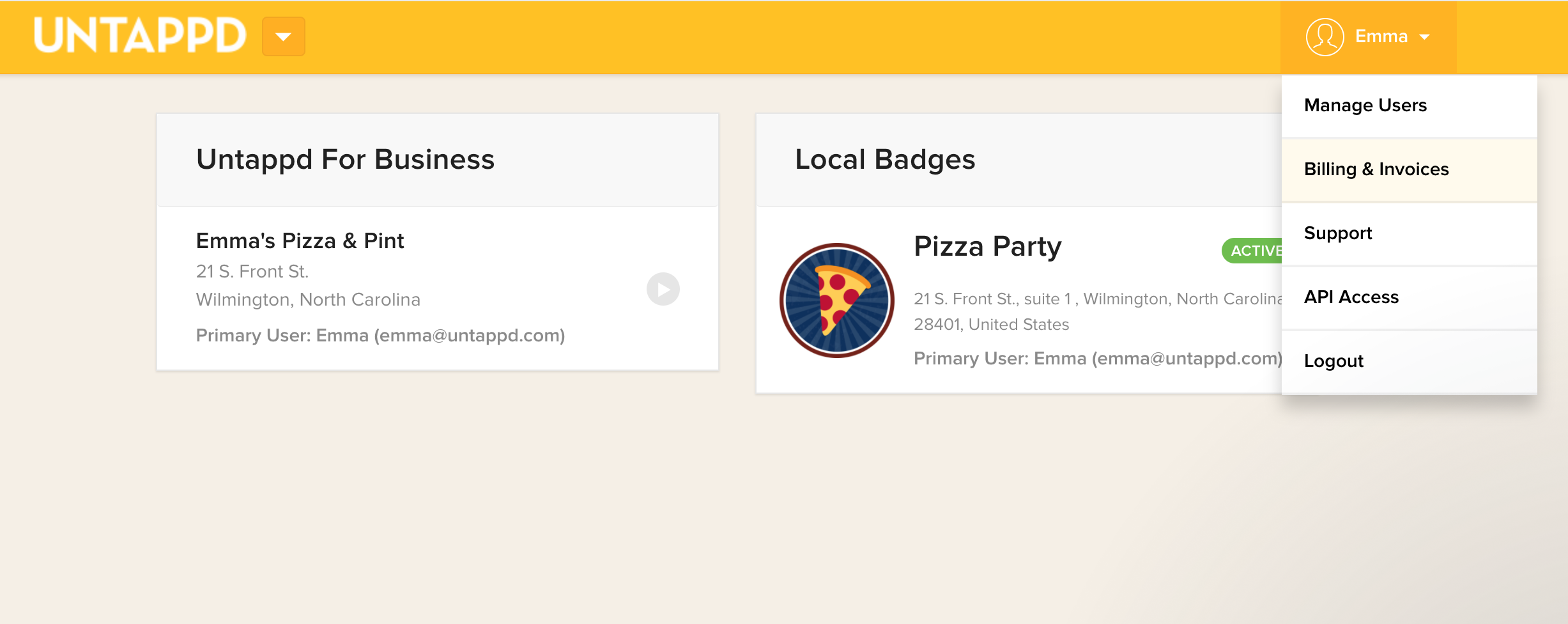 billing invoices untappd for business