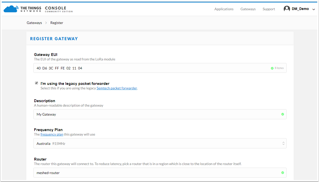 SensorData LoRaWAN - Sending data from The Things Network to