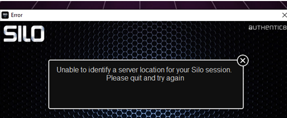Error - Unable to Identify a Server Location for your Silo