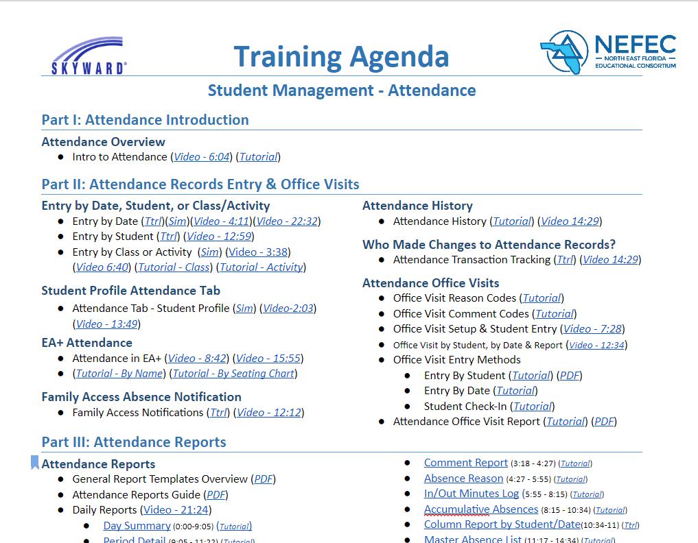 training agenda attendance
