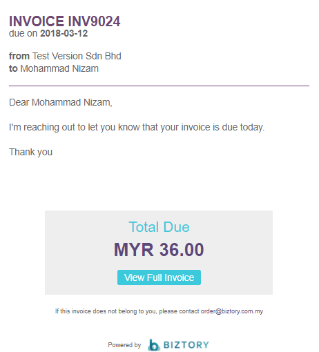 How To Send Invoice For Payment Biztory - Send invoice for payment