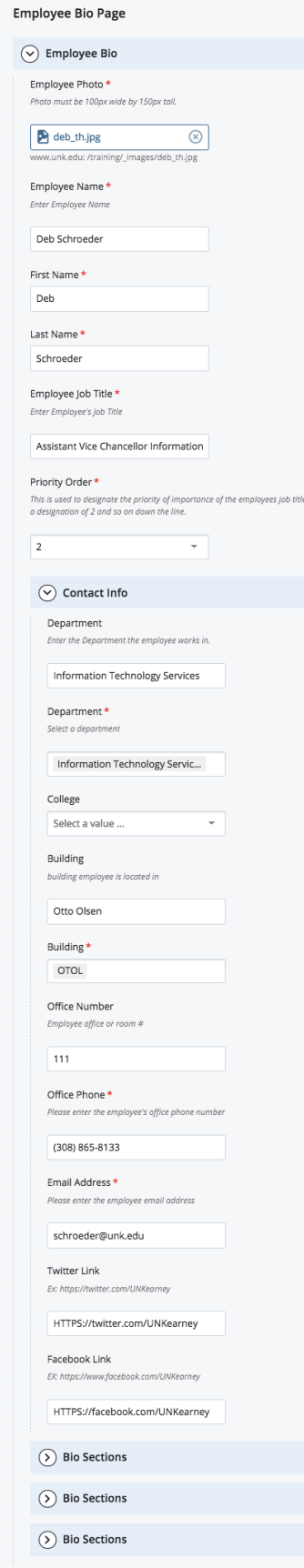 Employee Bio Page Type Backend