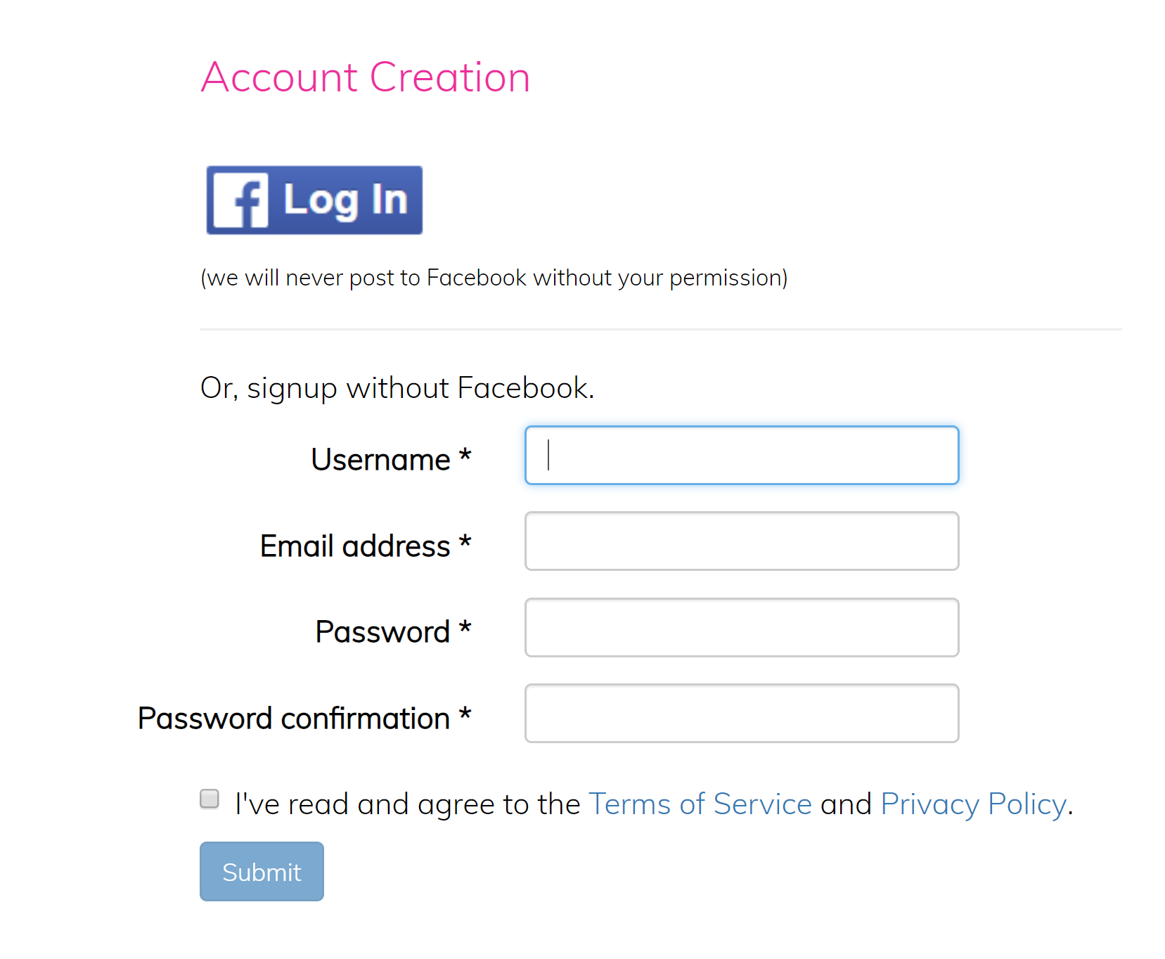 log in without password facebook