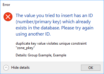 The value you tried to insert has an ID (number/primary key) which
