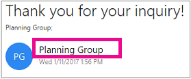 The header of the email shows that the mail was sent by the group