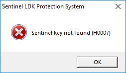 Error message Sentinel key not found (H0007) : PUMA CLONER