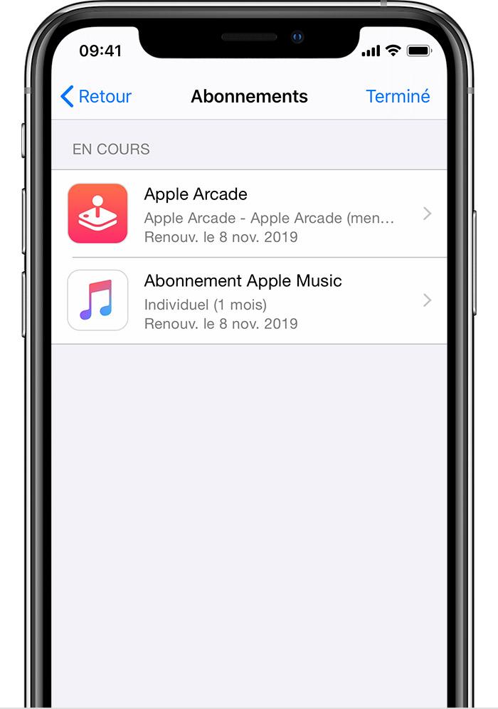 iPhone affichant les abonnements, y compris AppleNews+ et AppleMusic.