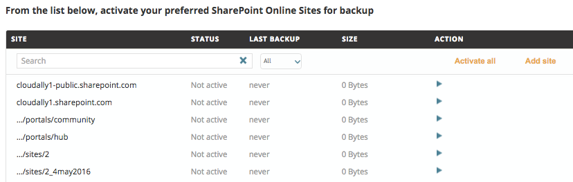 Activating SharePoint or OneDrive Backups4.2