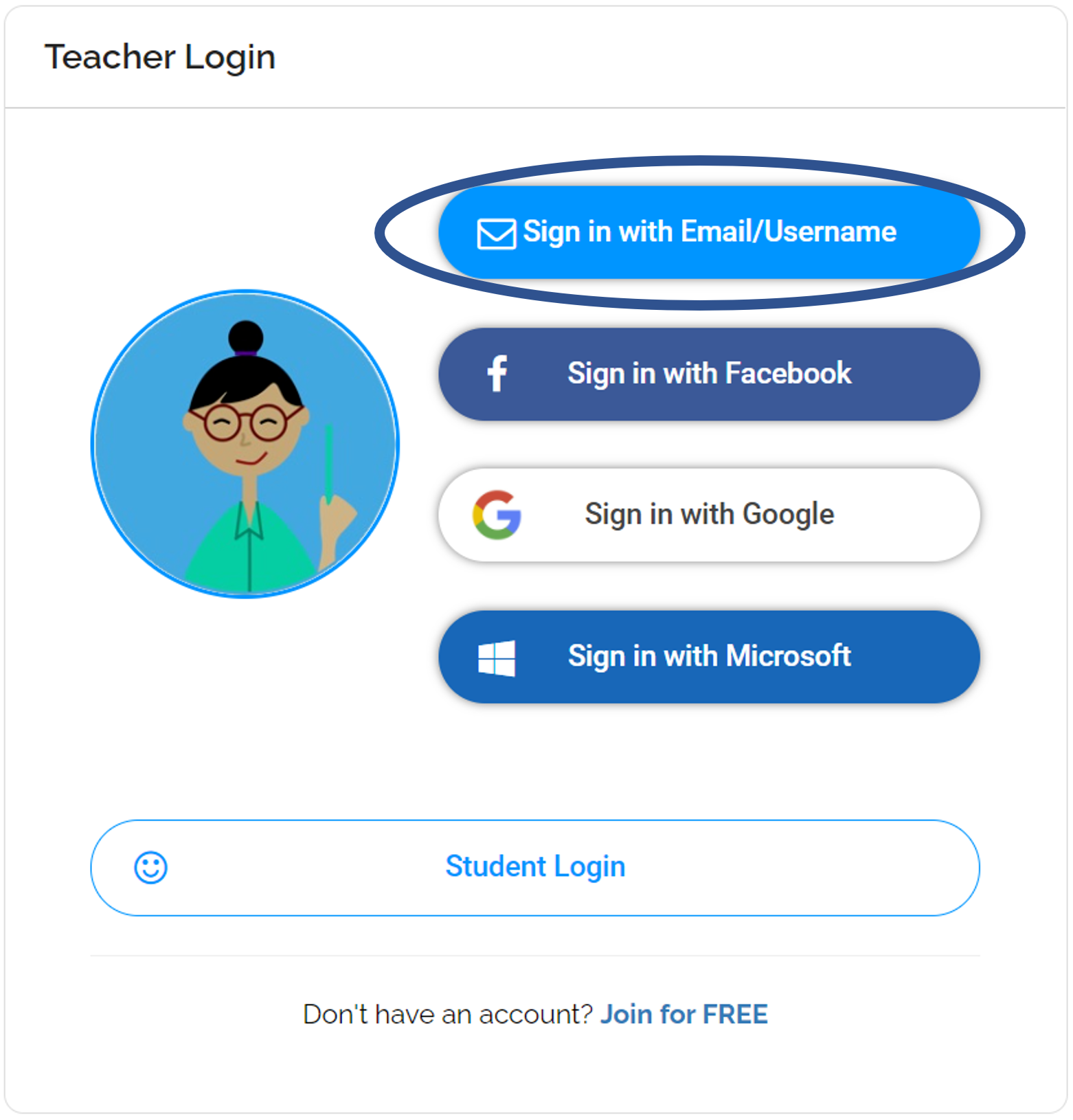Teacher Log in Sign in with Email/Username