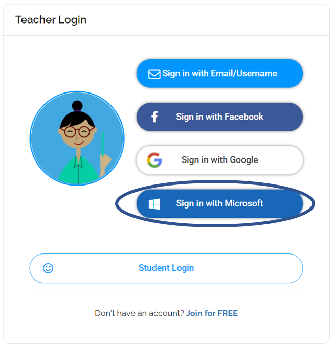 Teacher Sign in with Microsoft Log in