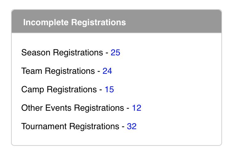 Dashboard - Incomplete Registrations