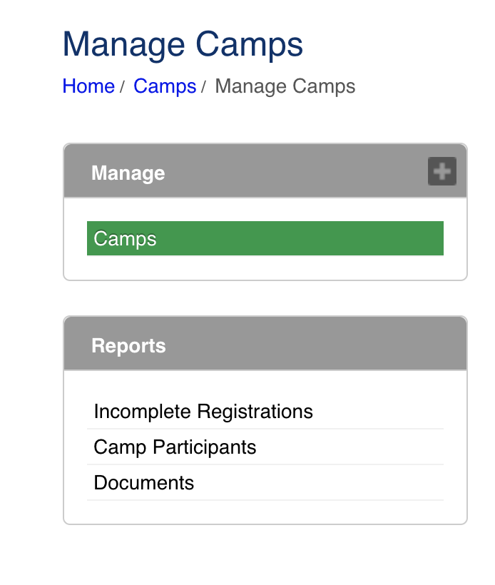 Manage Camps - Reports
