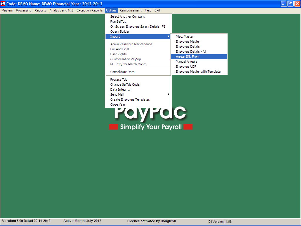 Process Flow For Calculating Auto Arrears in PayPac
