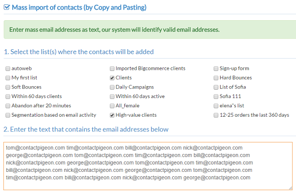 Enter email address in bulk