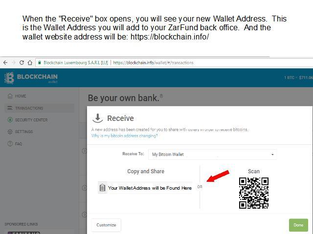 Required Wallet - BLOCKCHAIN INFO : ZARFUND