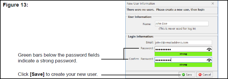 New User Information window showing strong password