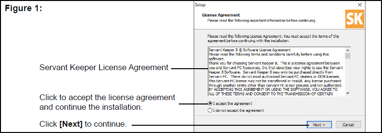 License Agreement window