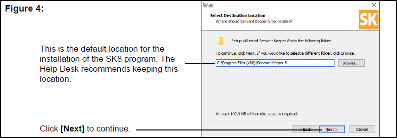 Select Destination Location window