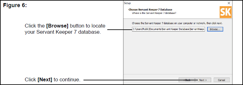 Choose Servant Keeper 7 Database window