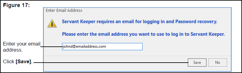 Enter Email Address window
