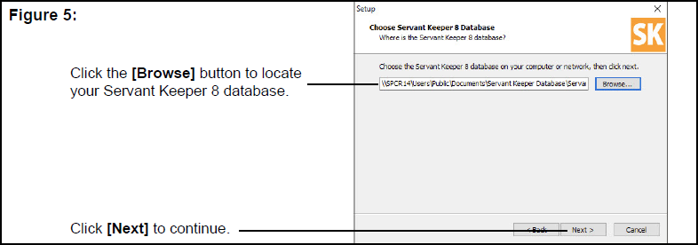 Choose Servant Keeper 8 Database window
