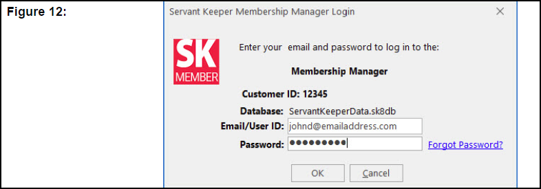 Servant Keeper Membership Manager Login window