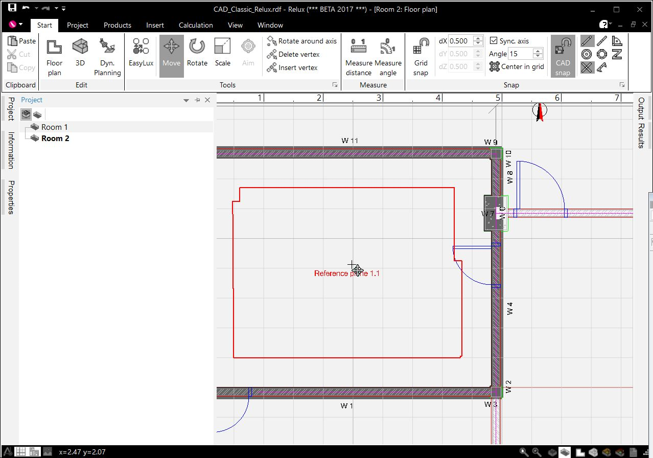 create a floor project with a cad plan relux