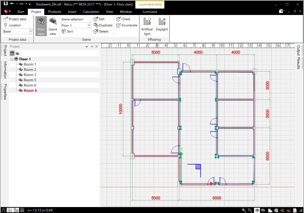 Create a floor project with a cad plan relux for Floor plans you can edit