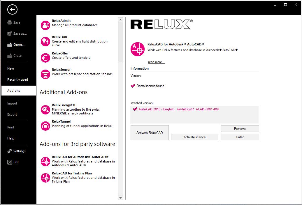 Installation handling : Relux