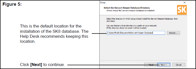 Select the Servant Keeper Database Directory window