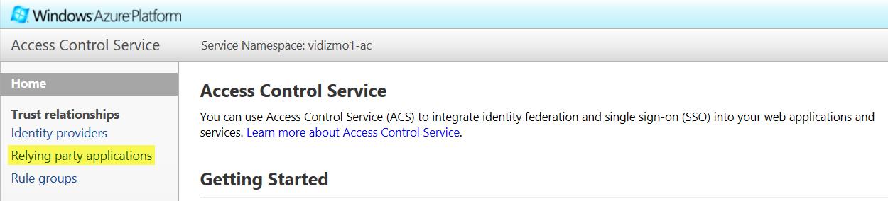 Setup SSO with ACS - Windows Azure Access Control Service