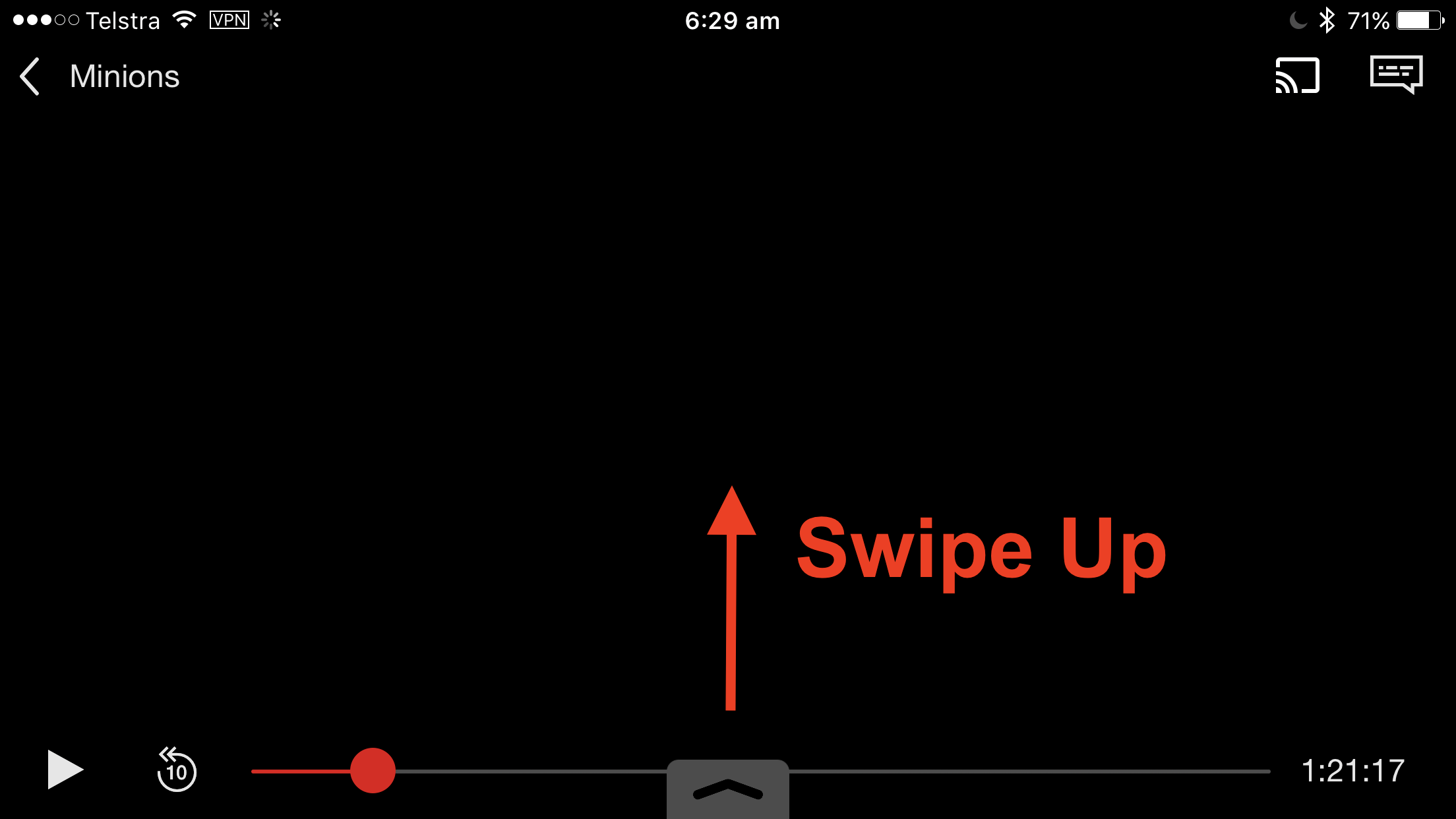 3) Swipe Up From The Bottom Of The Screen To Reveal The Airplay Menu