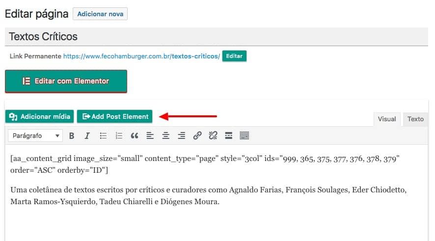 Tela de edição e botão Adicionar Elemento (Add Post Element) em destaque