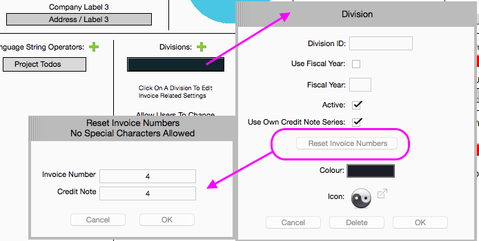 Divisions And Invoice Settings Farmerswife