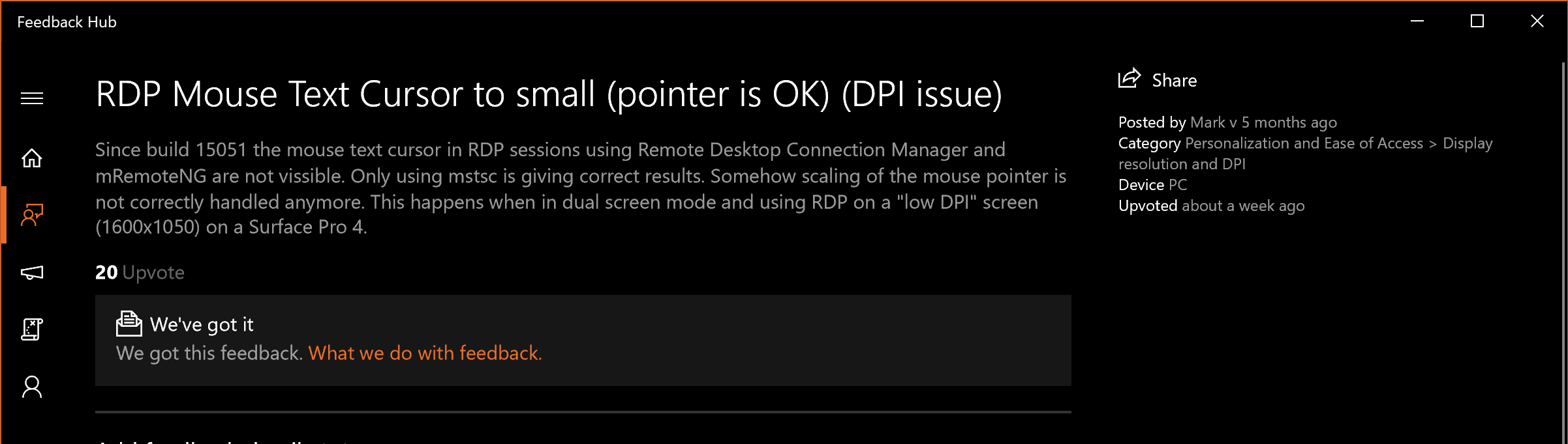 Mouse Cursor issue with high DPI in Remote Desktop Sessions