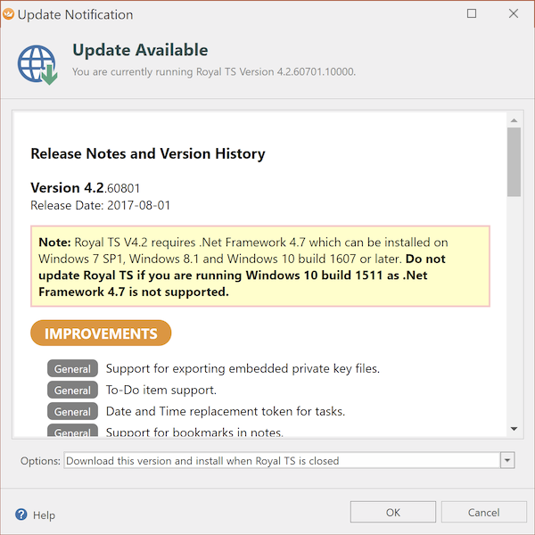 Latest Version of Royal TS (4 2 60801 10000) requires  NET 4 7