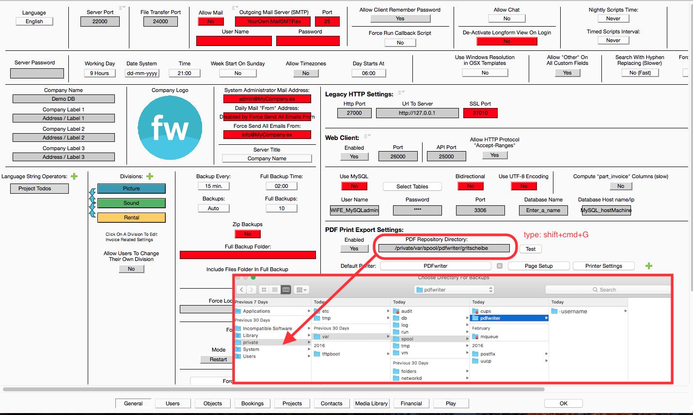 PDF Print Setup fw Server-side : farmerswife