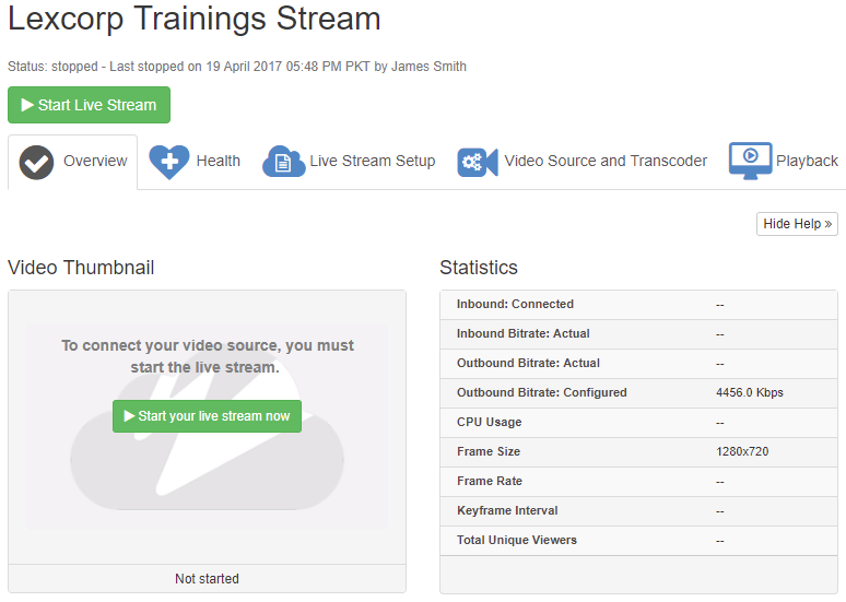 Set up Live Streaming using Wowza Streaming Cloud  : VIDIZMO